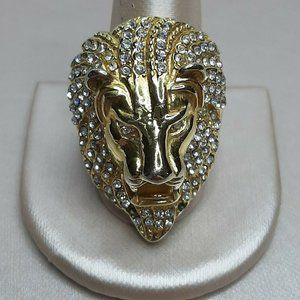 HZMAN Mens CZ Lion 23K Gold Plated Stainless Steel